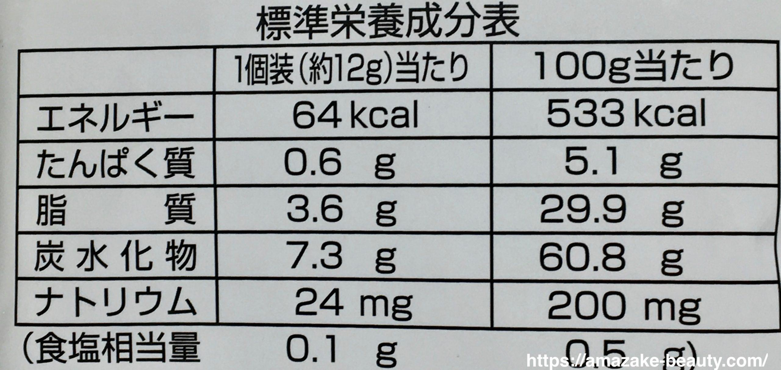 越後製菓×大関コラボ 『ふんわり名人 甘酒仕立て』(栄養成分表示)