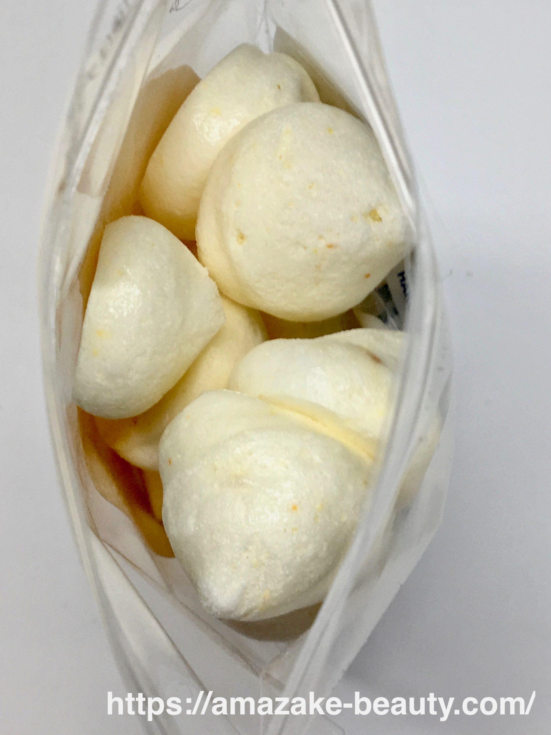【甘酒甘味】古町糀製造所『米麹と果実のメレンゲ(みかん)』(パッケージの中身)